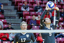 BLOOMINGTON, IL - October 12: Peyton McCarthy and Brittany Anderson during a college Women's volleyball match between the ISU Redbirds and the Valparaiso Crusaders on October 12 2018 at Illinois State University in Bloomington, IL. (Photo by Alan Look)