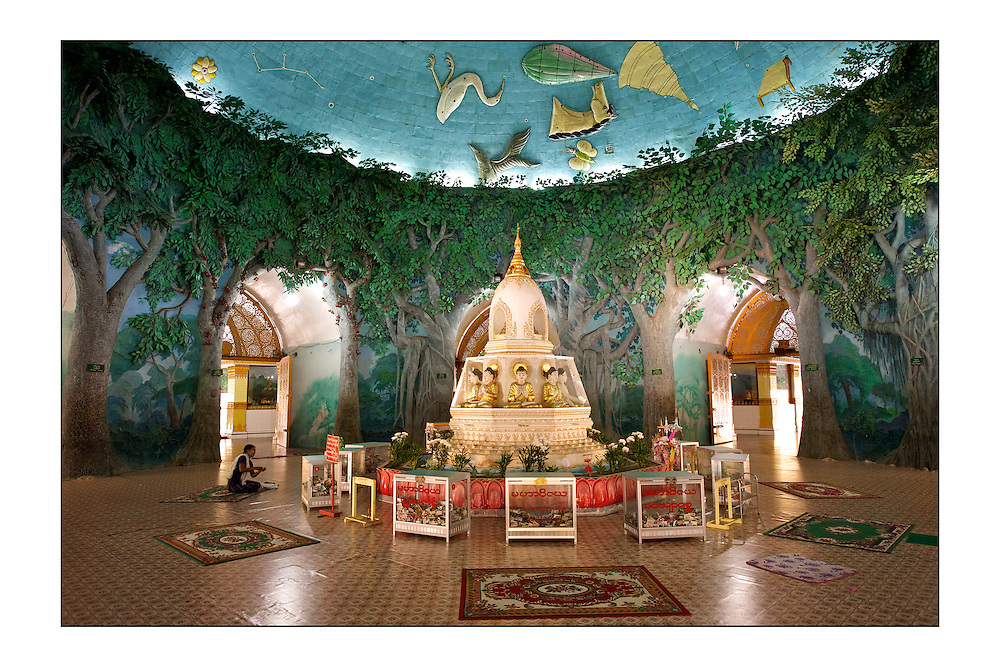 SMALL version - 9&quot;X6&quot; (23X15 cm) <br /> A woman prays inside Kaba Aye Paya. A rare hollow pagoda in Yangon. A set of special edition prints on offer at a special price to raise money for the earthquakes that devastated Central Italy and Central Myanmar at the end of August 2016. Each print comes with a wide border on fine-art paper ready to be framed on standard size mounts. <br />  I will donate all profits to charities helping the victims of the earthquakes.