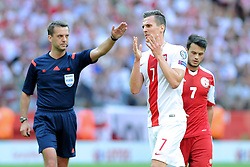 13.06.2015, Nationalstadion, Warschau, POL, UEFA Euro 2016 Qualifikation, Polen vs Greorgien, Gruppe D, im Bild ARKADIUSZ MILIK, ZLOSC SMUTEK EMOCJE, SYLWETKA // during the UEFA EURO 2016 qualifier group D match between Poland and Greorgia at the Nationalstadion in Warschau, Poland on 2015/06/13. EXPA Pictures © 2015, PhotoCredit: EXPA/ Pixsell/ MICHAL STANCZYK / CYFRASPORT<br /> <br /> *****ATTENTION - for AUT, SLO, SUI, SWE, ITA, FRA only*****