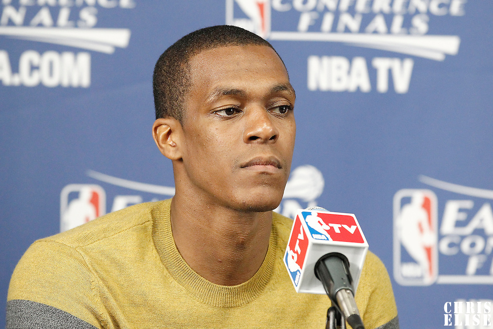 03 June 2012: Boston Celtics point guard Rajon Rondo (9) answers to journalists during the press conference after the Boston Celtics 93-91 overtime victory over the Miami Heat, in Game 4 of the Eastern Conference Finals playoff series, at the TD Banknorth Garden, Boston, Massachusetts, USA.
