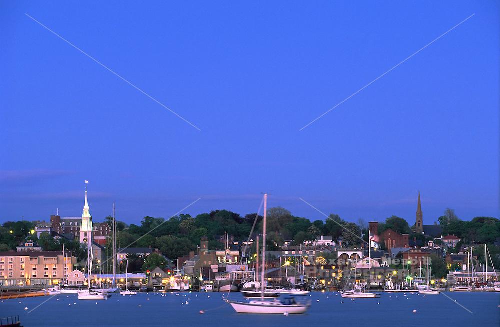 USA, Newport, RI - Evening view of Newport's waterfront taken from Goat Island.