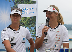 29.07.2014, Klagenfurt, Strandbad, AUT, A1 Beachvolleyball Grand Slam 2014, im Bild Barbara Hansel 1 AUT /Bianca Zass 2 AUT // during the A1 Beachvolleyball Grand Slam at the Strandbad Klagenfurt, Austria on 2014/07/29. EXPA Pictures © 2014, EXPA Pictures © 2014, PhotoCredit: EXPA/ Mag. Gert Steinthaler