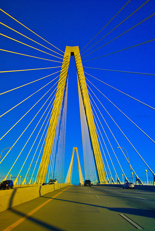 Crossing over the Arthur Ravenel, Jr. Bridge (the Cooper River Bridge), Charleston, South Carolina