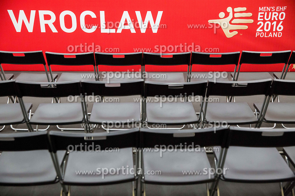 Feature in Press conference room on Day 1 of Men's EHF EURO 2016, on January 15, 2016 in Centennial Hall, Wroclaw, Poland. Photo by Vid Ponikvar / Sportida