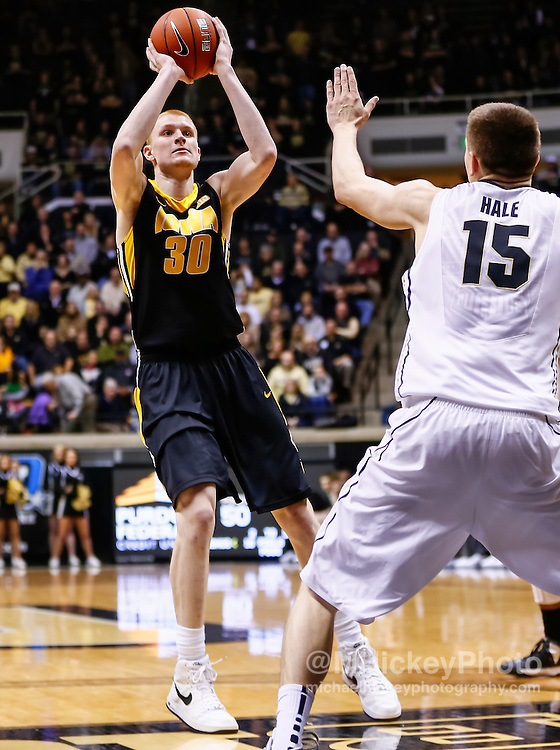 WEST LAFAYETTE, IN - JANUARY 27: Aaron White #30 of the Iowa Hawkeyes shoots a jumper against the Purdue Boilermakers at Mackey Arena on January 27, 2013 in West Lafayette, Indiana. Purdue defeated Iowa 65-62 in overtime. (Photo by Michael Hickey/Getty Images) *** Local Caption *** Aaron White