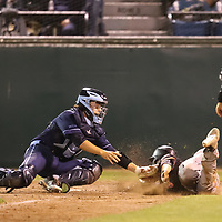 Valley Christian Cather #22 Ryan Belluomini tags out Los Gatos #13 Tommy Troy at the plate in the 2018 CCS Open Division Baseball Championship at San Jose Municipal Stadium, San Jose CA on 5/25/18. (Photograph by Bill Gerth) (Valley Christian 4 Los Gatos 3) A heart-pounding, tension-packed seventh inning ended Friday night with Coleman Brigman crossing home plate with the decisive run after Steven Zobac took a pitch to the thigh.<br />