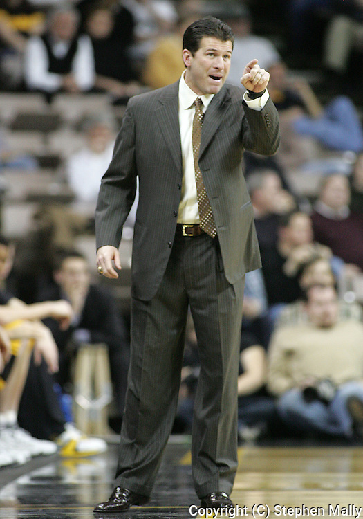 24 JANUARY 2007: Iowa head coach Steve Alford points down court in Iowa's 79-63 win over Penn State at Carver-Hawkeye Arena in Iowa City, Iowa on January 24, 2007.