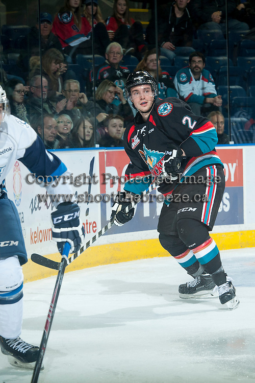 KELOWNA, CANADA - DECEMBER 3: Jesse Lees #2 of Kelowna Rockets skates against the Saskatoon Blades on December 3, 2014 at Prospera Place in Kelowna, British Columbia, Canada.  (Photo by Marissa Baecker/Shoot the Breeze)  *** Local Caption *** Jesse Lees;