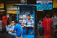 A small book stall in an alleyway off of College Street in the university area of Kolkata.