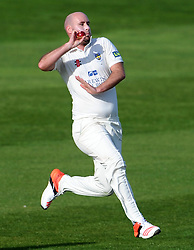 Durham's Chris Rushworth - Photo mandatory by-line: Harry Trump/JMP - Mobile: 07966 386802 - 13/04/15 - SPORT - CRICKET - LVCC County Championship - Day 2 - Somerset v Durham - The County Ground, Taunton, England.