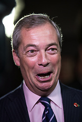 © Licensed to London News Pictures . 03/11/2015 . Oldham , UK . UKIP leader NIGEL FARAGE at the launch of the party's campaign for the seat of Oldham West and Royton , at the Railway Hotel in Royton . The by-election has been triggered by the death of MP Michael Meacher . Photo credit : Joel Goodman/LNP