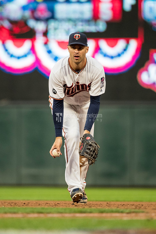 MINNEAPOLIS, MN- APRIL 3: Joe Mauer #7 of the Minnesota Twins throws against the Kansas City Royals on April 3, 2017 at Target Field in Minneapolis, Minnesota. The Twins defeated the Royals 7-1. (Photo by Brace Hemmelgarn) *** Local Caption *** Joe Mauer