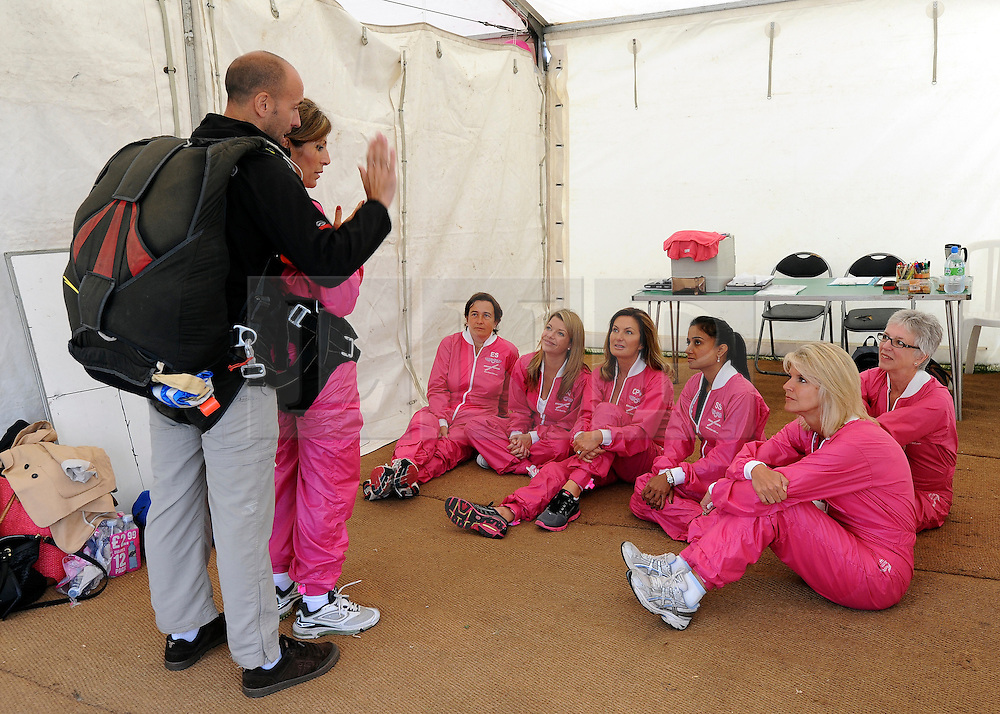 © licensed to London News Pictures. Wallingford, UK.  03/09/11. A group of successful business women spend the day sky diving after raising a minimum of £20,000 each in order to participate in the sponsored jump. Breakthrough Breast Cancer launched the idea, called Breakthrough Bobby Birds,  in 2010. The skydive was chosen as it most closely emulates the feeling of 'free-fall' following a diagnosis of breast cancer. The seven women raised over £150,000 between them. Mandatory Credit Stephen Simpson/LNP