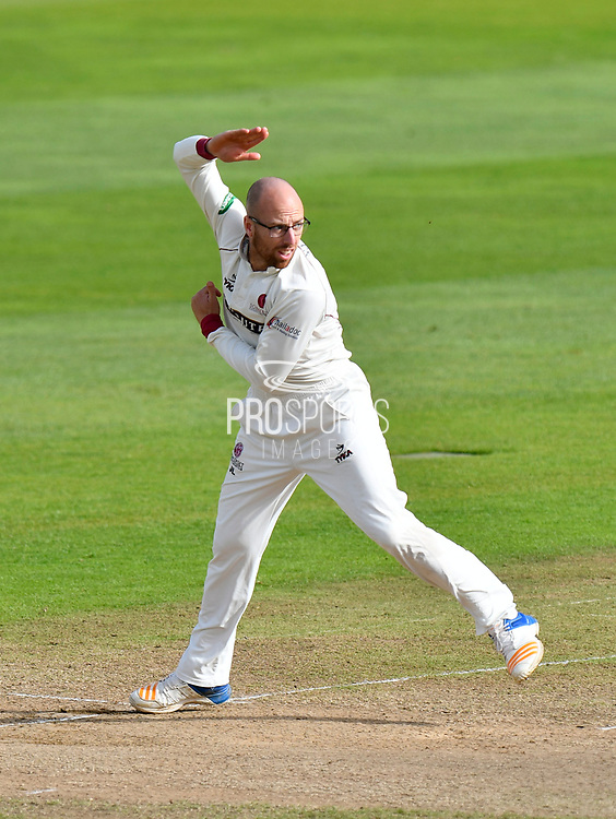 Jack Leach of Somerset bowling during the Specsavers County Champ Div 1 match between Somerset County Cricket Club and Middlesex County Cricket Club at the Cooper Associates County Ground, Taunton, United Kingdom on 28 September 2017. Photo by Graham Hunt.