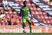 Forest Green Rovers Udoka Godwin-Malife(22) on the ball during the EFL Sky Bet League 2 match between Bradford City and Forest Green Rovers at the Utilita Energy Stadium, Bradford, England on 24 August 2019.