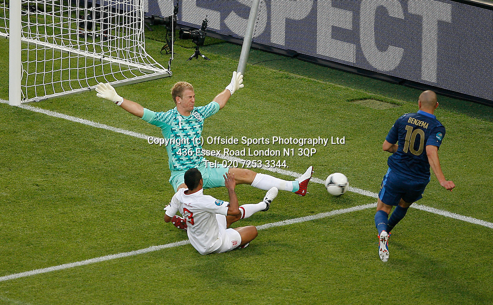 11/06/2012 European football championships. France v England.<br /> Joe Hart spreads himself to save from Benzema.<br /> Photo: Mark Leech.