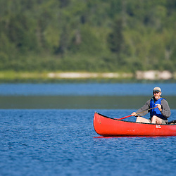Canoeing on Maine's Katahdin Lake.  Near Baxter State Park.