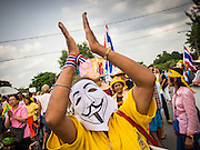 """05 AUGUST 2013 - BANGKOK, THAILAND: An anti-government """"white mask"""" protestor applauds during an anti-government protest in Bangkok. About 500 people, members of the  People's Army against Thaksin Regime, a new anti-government group, protested in Lumpini Park in central Bangkok. The protest was peaceful but more militant protests are expected later in the week when the Parliament is expected to debate an amnesty bill which could allow Thaksin Shinawatra, the exiled former Prime Minister, to return to Thailand.    PHOTO BY JACK KURTZ"""