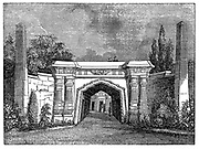 North London Cemetery, Highgate, London, England. The Egyptian avenue, built in the architectural style fashionable at this time.  Wood engraving, 1838.