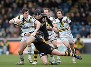 Wycombe, GREAT BRITAIN,  Saints' James DOWNEY Tackled by Wasps' Danny CIPRIANI,   and Richard BIRKETT, aduring the Guinness Premiership rugby game, London Wasps vs Northampton Saints, at Adam's Park Stadium, Bucks, England, on Sun 22.02.2009. [Photo, Peter Spurrier/Intersport-images]