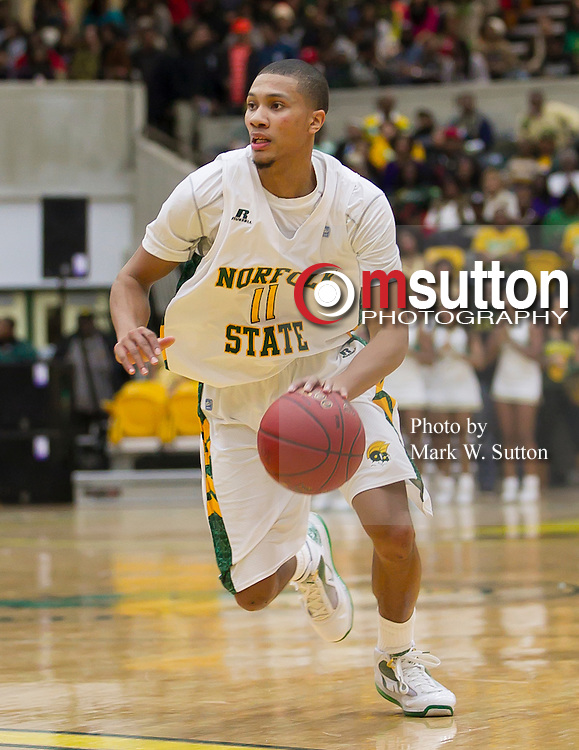 during the Hampton-Norfolk State MEAC men's basketball game at Echols Hall in Norfolk, Virginia.  January 26, 2013  NSU won 74-67.  (Photo by Mark W. Sutton)