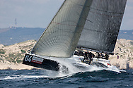 Marseille - FRANCE,  June 3rd 2008. AUDI MEDCUP  in Marseille  (2/7 June 2008). Races 1,2 and 3. <br /> <br /> Mean Machine is being launched of a wave like a rocket. This was the last season Mean Machine raced because Peter de Ridder decided to quite sailing. Mean Machine is special to mo because Peter de Ridder helped me jump start my career in sailing photography