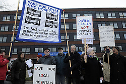 © Licensed to London News Pictures. 13/12/2012.Protesters staged a demonstration outside Queen Marys Hospital in Sidcup, South East London today (13.12.12)  .The demo which saw about 50 protesters holding banners and singing was against cuts to the NHS in South East London. Hospitals like Lewisham,Queen Marys,Orpington and Beckenham may have to close because of the failed South London Healthcare Trust. Security and the press office asked the protesters to leave hospital grounds..Photo credit : Grant Falvey/LNP