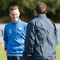 St Johnstone Training….30.09.16<br />Streven MacLean pictured during training this morning talking with manager Tommy Wright<br />Picture by Graeme Hart.<br />Copyright Perthshire Picture Agency<br />Tel: 01738 623350  Mobile: 07990 594431
