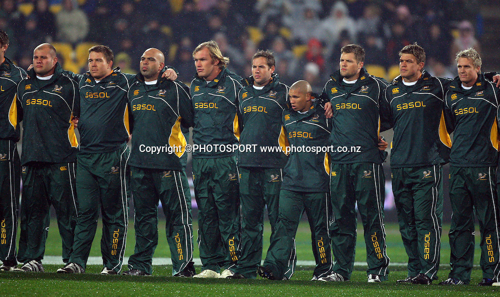 The South African Team. Philips Tri Nations, All Blacks vs South Africa, Westpac Stadium, Wellington, New Zealand, Saturday 5 July 2008. Photo: Andrew Cornaga/PHOTOSPORT