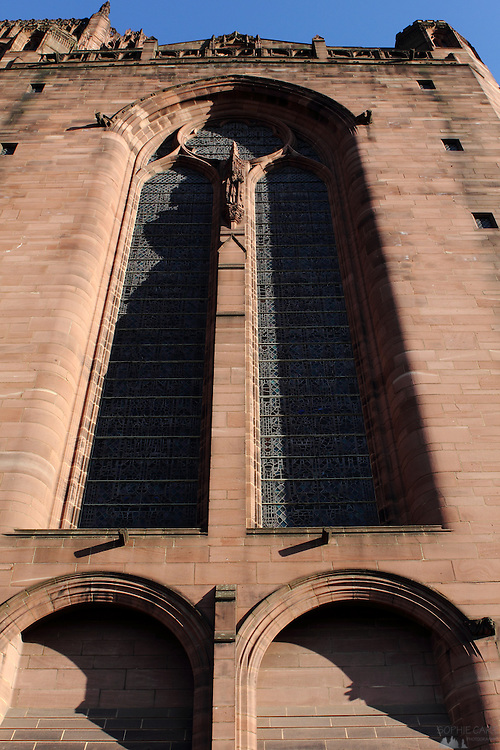 The enormous stained-glass windows of Liverpool Cathedral, from outside