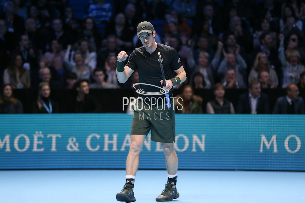 Andy Murray (Great Britain) celebrates winning a point and he clenches his fists during the final of the Barclays ATP World Tour Finals at the O2 Arena, London, United Kingdom on 20 November 2016. Photo by Phil Duncan.