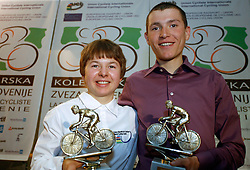 Riders Tanja Zakelj and Jani Brajkovic, the best Slovenian riders in 2006, on December 13, 2006, Ljubljana, Slovenia. (Photo by Vid Ponikvar / Sportal Images)/ Sportida)