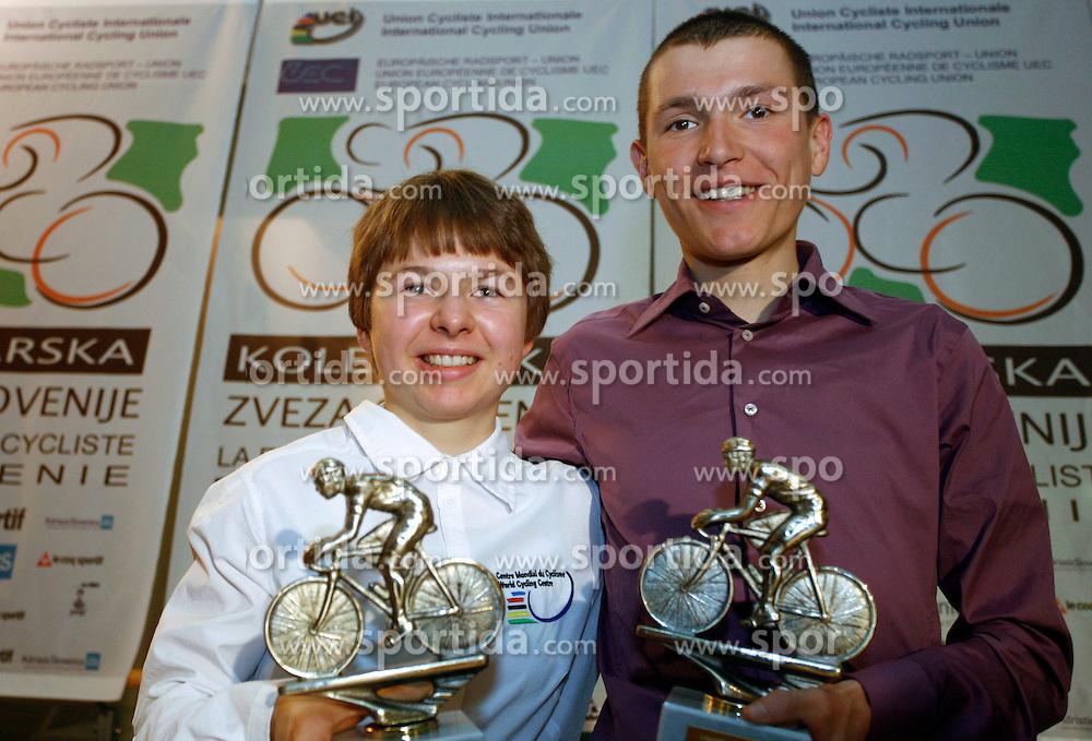 Riders Tanja Zakelj and Jani Brajkovic, the best Slovenian riders in 2006, on December 13, 2006, Ljubljana, Slovenia. (Photo by Vid Ponikvar / Sportal Images)/ Sportida)