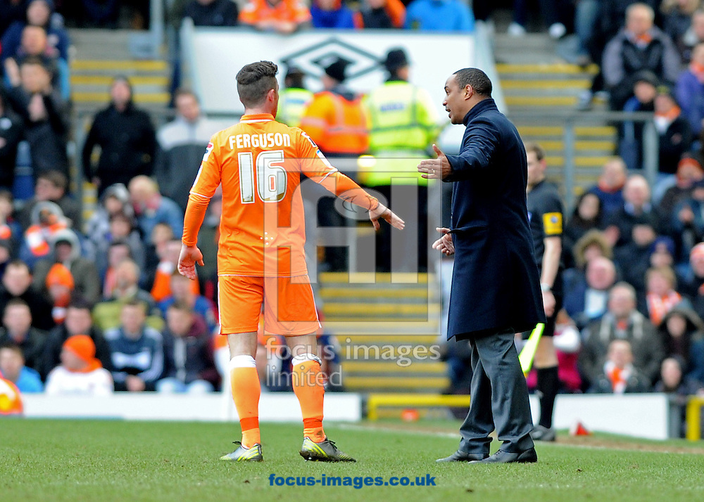 Picture by Alan Wright/Focus Images Ltd 07733 196489.29/03/2013.Paul Ince, manager of Blackpool gives instructions to Barry Ferguson during the npower Championship league match against Blackburn Rovers at Ewood Park, Blackburn.