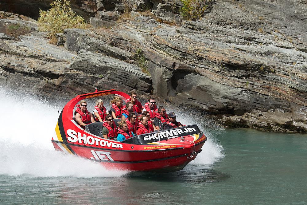 A Shotover Jetboat speeds along the Shotover River in Queenstown, New Zealand, Wednesday, January 11, 2012. Credit:SNPA / Teaukura Moetaua