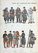 French military uniforms in World War I, 1914-1918.    Infantry and, top right, Aviator. Coloured print