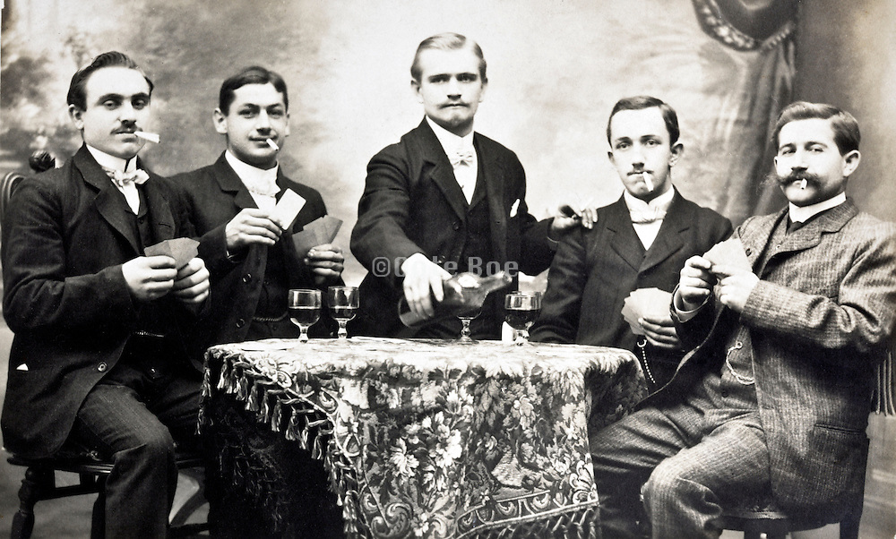 young adult men having a good time together early 1900s France
