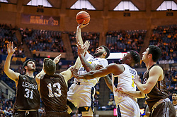 Dec 30, 2018; Morgantown, WV, USA; West Virginia Mountaineers forward Esa Ahmad (23) shoots in the lane during the second half against the Lehigh Mountain Hawks at WVU Coliseum. Mandatory Credit: Ben Queen-USA TODAY Sports