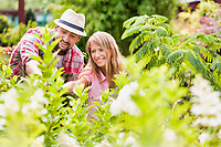 Portrait of mature gardeners examining plants in the garden