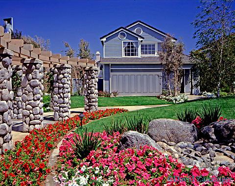 Family Home House Residential Flower Garden Residence Exterior