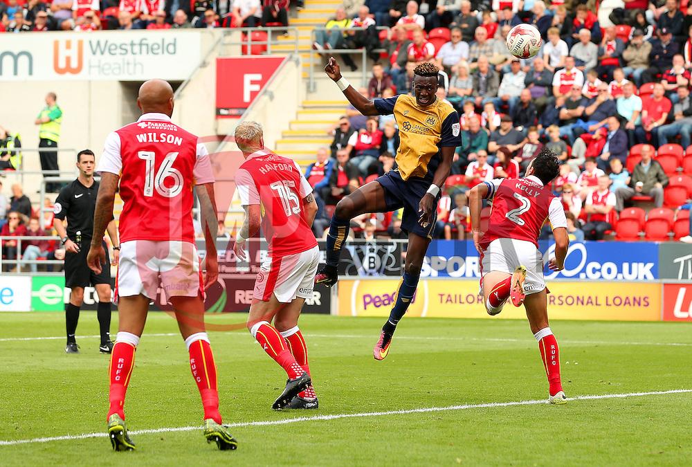Tammy Abraham of Bristol City fires a header at goal  - Mandatory by-line: Matt McNulty/JMP - 10/09/2016 - FOOTBALL - Aesseal New York Stadium - Rotherham, England - Rotherham United v Bristol City - Sky Bet Championship