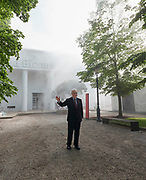 "58th Art Biennale Venice ""May You Live in Interesting Times"" curated by Ralph Rugoff. Biennale President Paolo Baratta in front of the International Pavillon, with artificial fog by Lara Favaretto."