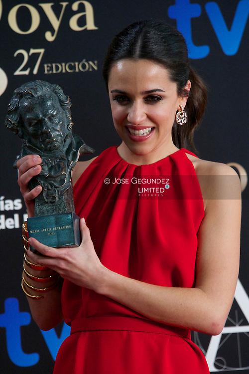 Macarena Garcia holds award at the Goya Film Awards ceremony 2013 at Auditirum Hotel on February 17, 2013 in Madrid, Spain