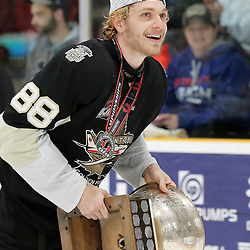 TRENTON, ON  - MAY 6,  2017: Canadian Junior Hockey League, Central Canadian Jr. &quot;A&quot; Championship. The Dudley Hewitt Cup Championship Game between The Trenton Golden Hawks and The Georgetown Raiders. Michael Silveri #88 of the Trenton Golden Hawks during post game celebrations. <br /> (Photo by Amy Deroche / OJHL Images)