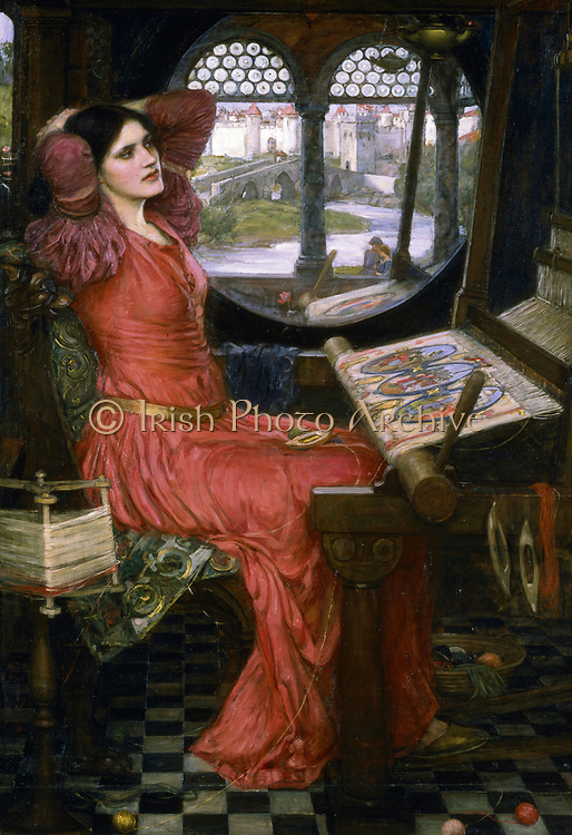 I am Half Sick of Shadows, said the Lady of Shalott' (1915).  Illustration of Tennyson's poem of Arthurian legend showing the Lady of Shallot bored with her weaving. Beside her is the window she will look through and fall fatally in love with Sir Lancelot. John William Waterhouse (1849-1917) English painter. Musee des Beaux Arts de l'Ontario, Canada.