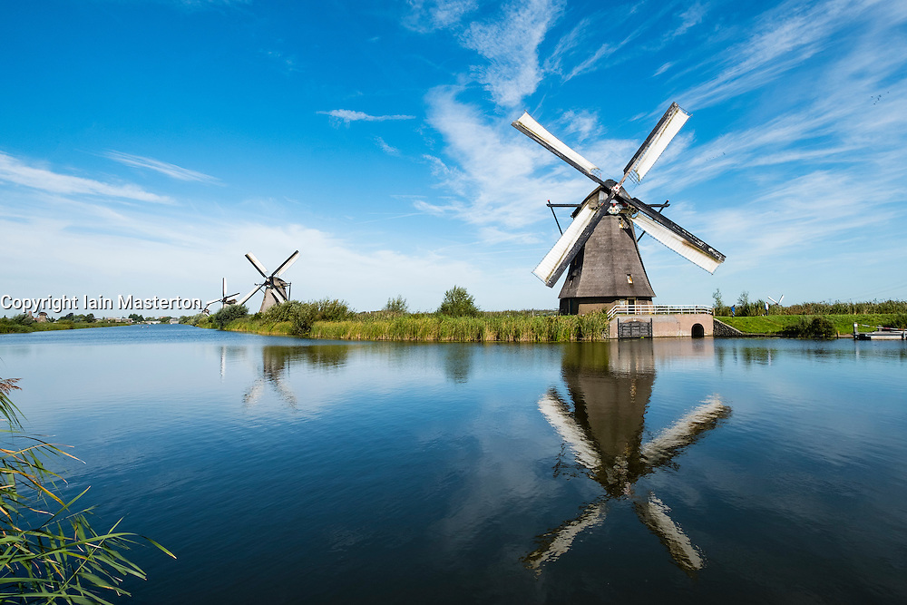 Windmills at Kinderdijk UNESCO World Heritage Site in The Netherlands