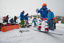 Training, banked slalom training, 2015 IPC Snowboarding World Championships, La Molina, Spain