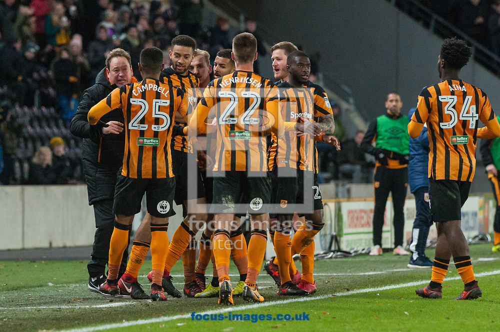 Hull City players celebrate Jarrod Bowen's goal with manager Leonid Slutsky (left) during the Sky Bet Championship match at the KCOM Stadium, Hull<br /> Picture by Matt Wilkinson/Focus Images Ltd 07814 960751<br /> 25/11/2017