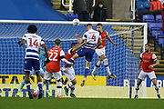 Michael Morrison (4) of Reading headers and scores a goal during the EFL Sky Bet Championship match between Reading and Luton Town at the Madejski Stadium, Reading, England on 9 November 2019.