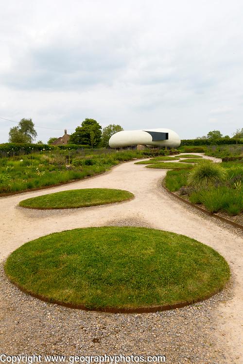 Hauser and Wirth art gallery, restaurant and garden, Durslade Farm, Bruton, Somerset, England, UK gardens designed by Piet Oudolf